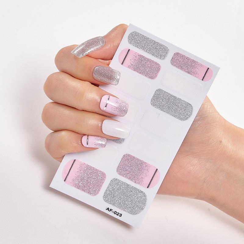Купить блестящий дизайн маникюрный самоклеющийся стикер для ногтей