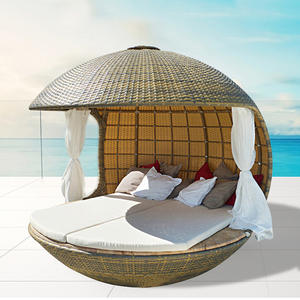 Sofa Rattan-Chairs-Sets Balcony Outdoor Lounger Lying-Bed Villa PU