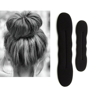 17.5cm and 22.5cm Black Hair Styling Bun Curler Maker Ring Magic Sponge Clip Foam Donut Twist Tool 1/2 pcs