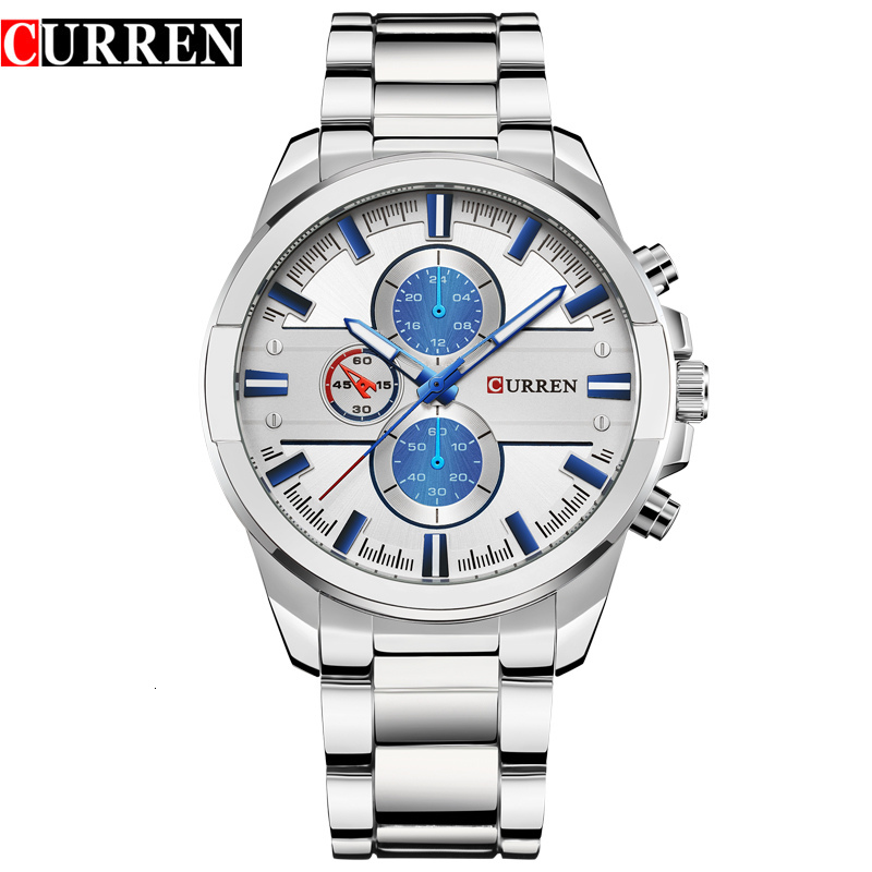 <font><b>CURREN</b></font> Men Watches Luxury Casual Military Quartz Male Wristwatch Stainless Steel Waterproof Relogio Masculino Montre Homme Xfcs image