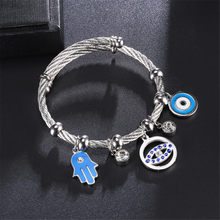Evil Eye Hand of Fatima Bracelet &Bangles Fashion Silver Color Stainless Steel Charm Bracelets for Women Jewelry Braclets(China)