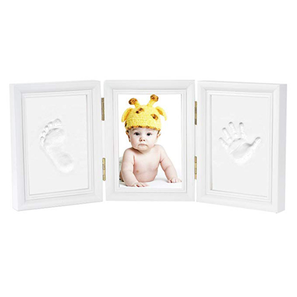 Newborn Baby Desk Decoration Handprint Photo Frame Safe DIY Clean Footprint Ink Pad Tri-fold Solid Wood Non-toxic Gift