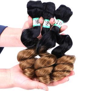 Image 2 - Черно золотистые волосы с эффектом омбре FSR, 16, 18, 20 дюймов, 3 шт./лот, синтетические волосы для наращивания, свободные волнистые пучки для женщин