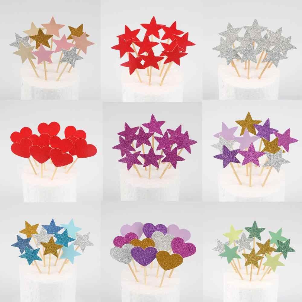 10pcs Mini Coração Estrela chapéus de Coco Do Queque Decoração Do Bolo de Aniversário Topper Picaretas Crianças Decorações da Festa de Casamento Favores Do Chuveiro de Bebê