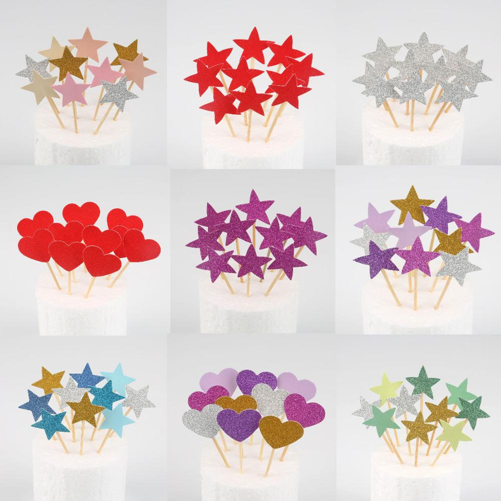 10pcs Mini Heart Star Cupcake Toppers Birthday Cake Topper Decorating Picks Kids Wedding Party Decorations Baby Shower Favors(China)