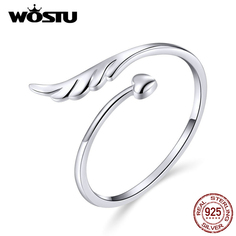 WOSTU 925 Sterling Silver Angel Wing Heart Ring Adjustable Finger Open Rings For Women Engagement Wedding Jewelry Gifts CQR567