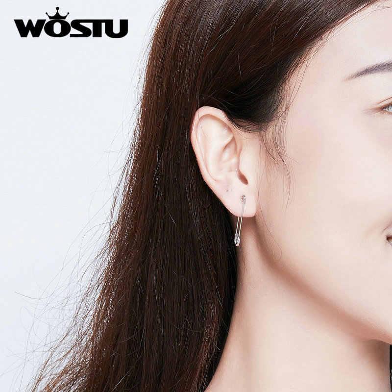WOSTU prawdziwe 925 Sterling srebrna szpilka kolczyki na chrząstkę dla kobiet moda minimalistyczny styl Punk kolczyki 2019 biżuteria FIE695-A