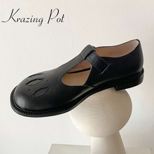 Women Pumps Krazing-Pot Mary Janes Buckle-Strap Low-Heel Round-Toe Classic-Colors Big-Size