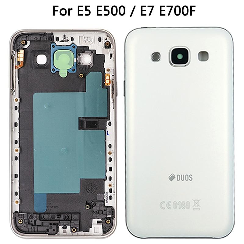 Full Housing Case For Samsung Galaxy E5 E500 E7 E700F Battery Back Cover Door Middle Frame Bezel