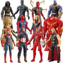 30cm Avengers Action Figure Captain America Iron Man Spider Man Thanos Thor Hulk Superman PVC Model Dolls Collection Boys Toys