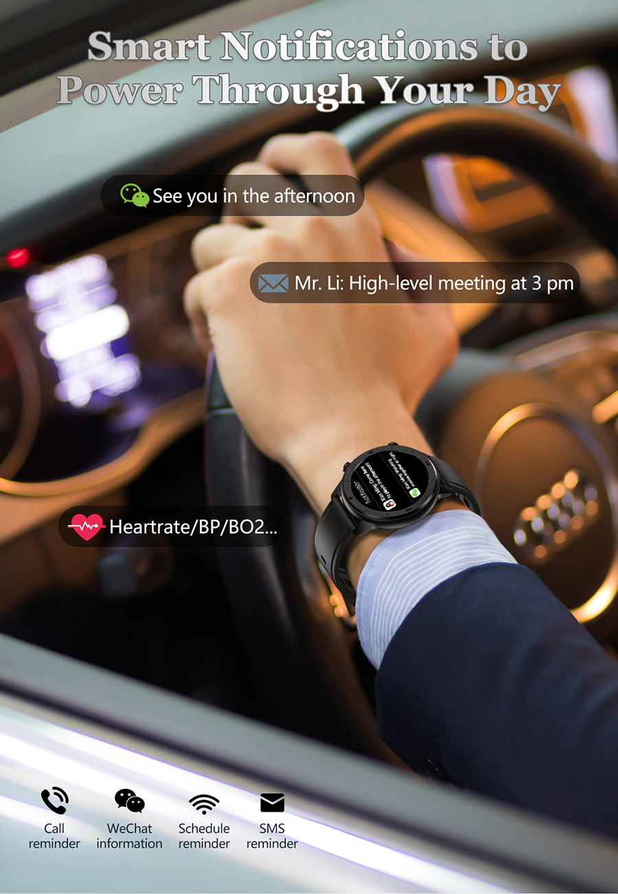 Montre intelligente écran tactile rond IP68 étanche