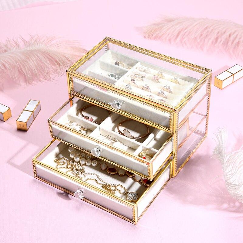 Borda de ouro de vidro de maquiagem caixa de armazenamento de gaveta com bandeja de jóias 3 camadas gavetas de metal de vidro caixa de armazenamento de organizador de gaveta de maquiagem - 2