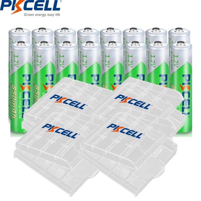 16 adet PKCELL 850mAh 1.2V AAA NI MH şarj edilebilir pil Ni Mh ön şarjlı pil aaa piller + 4 adet pil kutusu kutuları