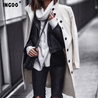 INGOO Autumn Women Long Wool Trench Coat Feminino Office Ladies Caots Winter Casual Vintage A Line Solid Overcoats Femala