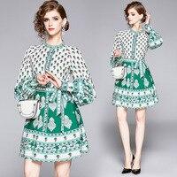 Ozhouzhan 2019 New Style Palace Style Puff Sleeve Printed Bandage Cloth Waist Hugging Slimming Short Elegant Dress