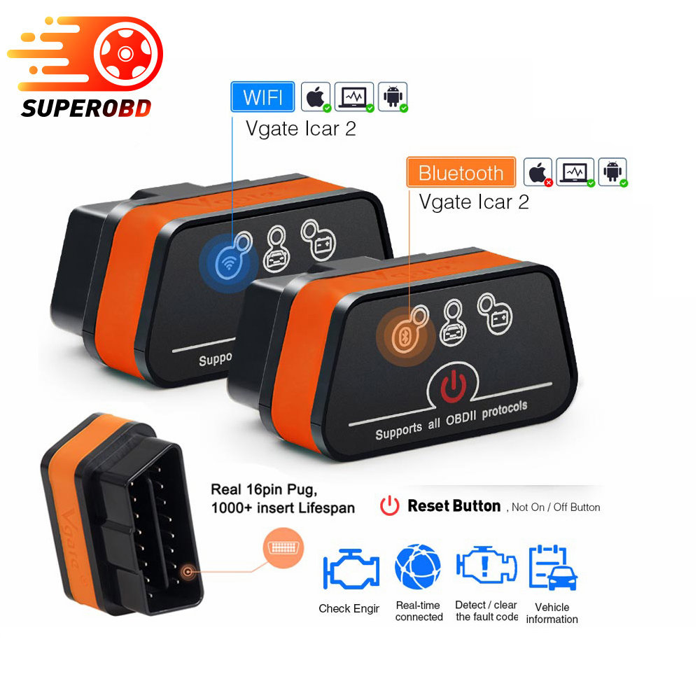 ELM327 Bluetooth OBD2 OBDII Cars Code Reader Diagnostic Scanner Android PC IOS