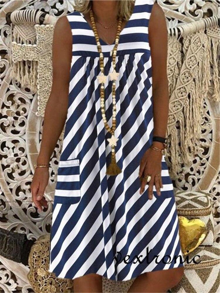 Fashion Sleeveless Loose Dress Casual Plus Size Dress Striped Dress Women