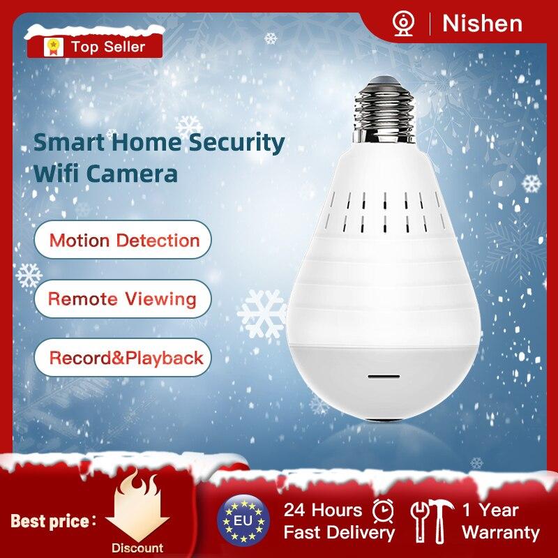 Videcam panorama wifi câmera de segurança lâmpada panorâmica câmera cctv vídeo sem fio câmera ip vigilância fisheye hd