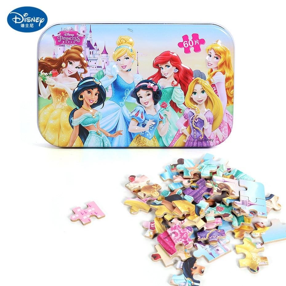 Disney 60 Piece Princess Frozen Wooden Box Puzzle Early Education Children Bottom Box Puzzle Birthday Toys Intelligence Puzzle 27