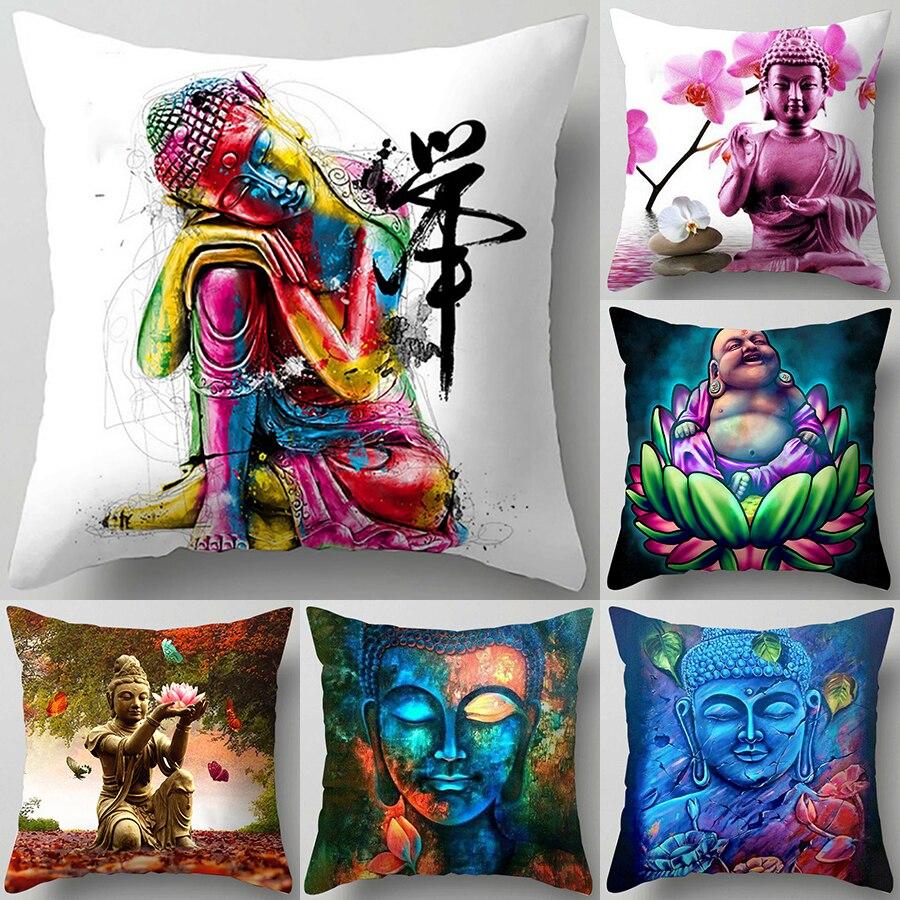 1PC Abstract Buddha Decor Solemn Buddha Print Cushion Cover Bureau Oreiller Fronha Federa Funda De Almohada Sofa Car Pillow Case