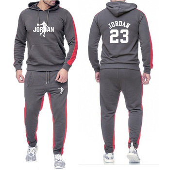 New sweater men's long sleeve spring, summer, autumn and winter suit men's 2020 round neck cap casual printing sports suit S-xxl
