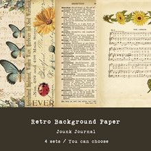 Music Flowers Bill Vintage Material Background Paper Junk Journal Diary Planner Scrapbooking Decorative DIY Craft Paper Photo