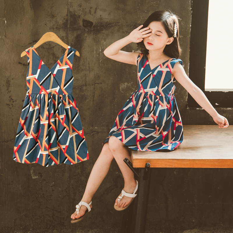 Sweet Dresses Baby Girl Princess Dress V-Neck Sleeveless Backless Dresses Children's Clothing Casual Summer 2