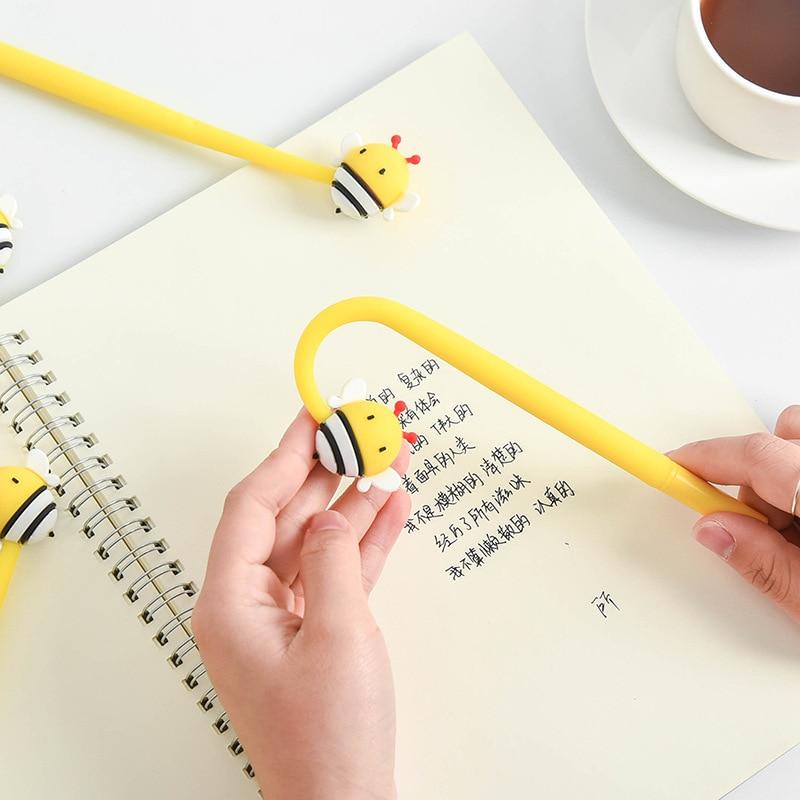 2pcs Flexible Mini Honey Bee Gel Pens BallPoint 0.5mm Black Color Ink Pen Writing Signature Office Tools School Study F102