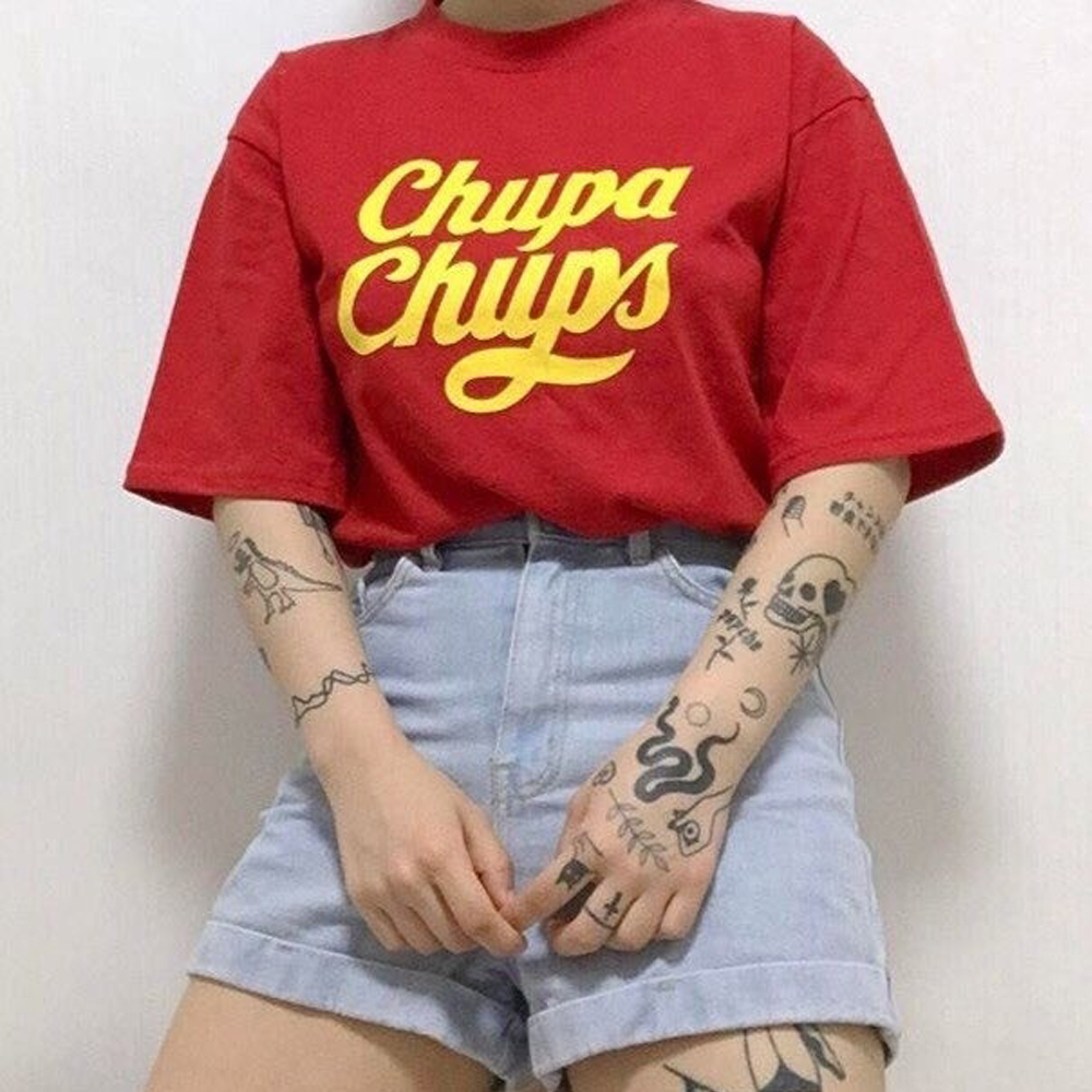 Chupa Chups Women T shirt Fashion Tumblr Hipster Cute Unisex Street Style Loose Graphic Tee Red Tops Clothing