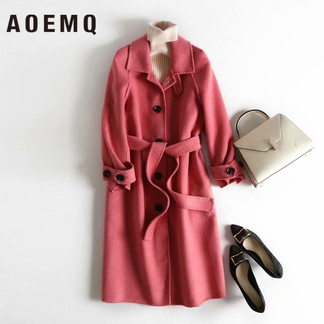 Aoemq 패션 맥시 여성 세트 가을 겨울 시즌 100% 양모 따뜻한 코트 모델 긴 오버 코트와 속옷 여성 의류 세트-에서여성 세트부터 여성 의류 의  그룹 1