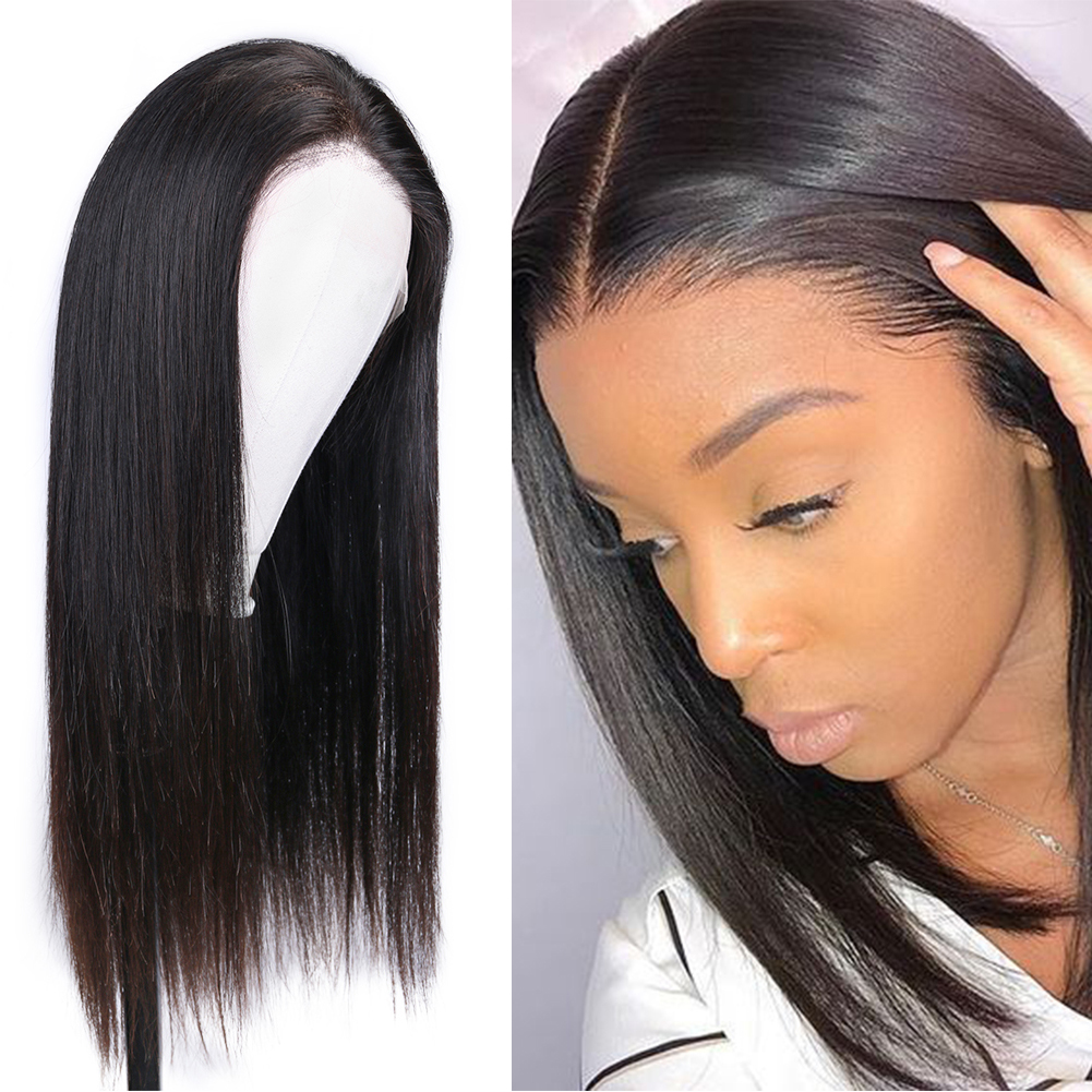 FAVE Full Lace Human Hair Wigs With Baby Hair High Density Straight Brazilian Remy Lace Wig Braided Glueless Pre PluckedLace Wig