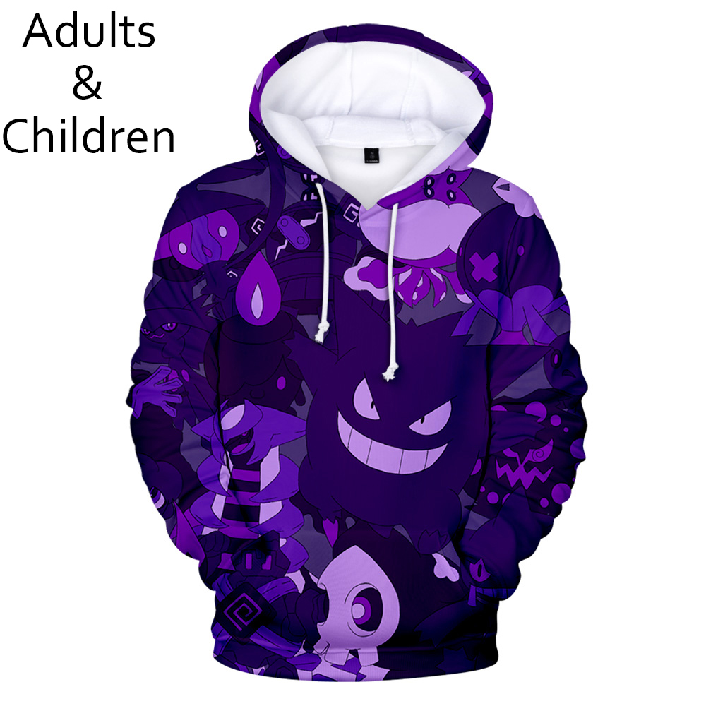 3D Pokemon new fashion cartoon men women hoodies popular children spring and autumn casual pullovers kids hip-hop sweatshirts