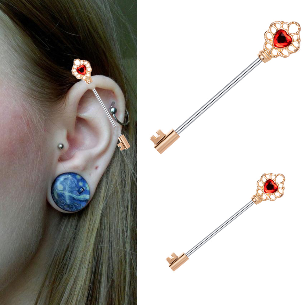2PCS Surgical Steel Industrial Scaffold Barbell Stud 14g 1 1//2 38mm Dice Earrings Cartilage Piercing Jewelry Choose Colors