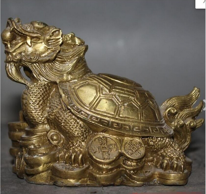 Chinese old antique brass statue hand made lucky fengshui dragon turtle coin