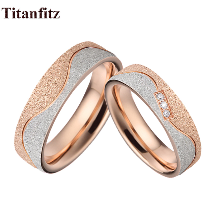 Alliances Love Emery Rose Gold Color Wedding Rings Set For Men And