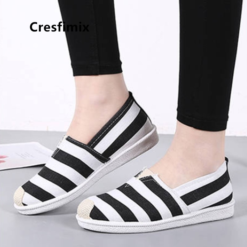 Cresfimix Mocasines Mujer Women Cute White Comfortable Slip On Loafers Ladies Casual High Quality Canvas Flat Shoes Sapato A5712