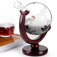 Гравированный Глобус дизайн графин 850 мл графин для виски вина с деревянной рамкой для домашнего бара SLC88