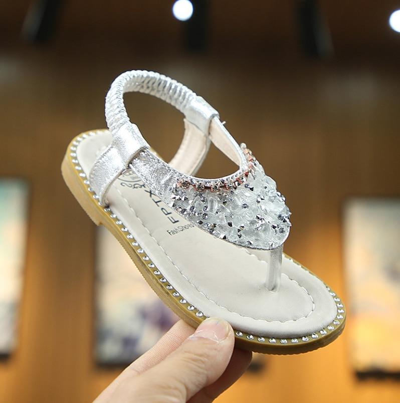 Neue Kinder Sommer Sandalen Baby Kleinkind Little Mädchen Sandalen Rosa Gold Silber Prinzessin Schuhe Für Kinder Mädchen Strass Sandalen