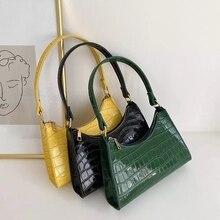 Retro Crocodile Pattern Shoulder Bag Women PU Leather Baguette Bag Luxury Armpit Bag French Subaxillary Bag Advanced Handbag sac