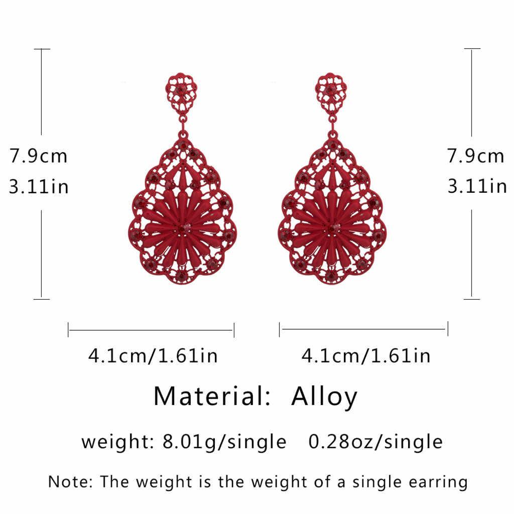 ¡Novedad! pendientes de joyería para mujer, pendientes coreanos con agujeros de agua rojo alto, largos y Retro