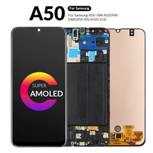 AMOLED A50 LCD Display For Samsung A50 SM-A505FN/DS LCD Touch Screen Digitizer For Samsung Galaxy A505F/DS A505 LCD With Frame