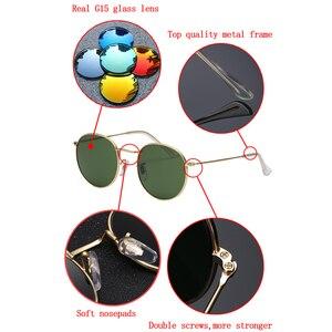Image 3 - Real Glass Lens UV400 Retro Round Sun glasses sunglasses men women luxury designer brand feminine oculos de sol 3447