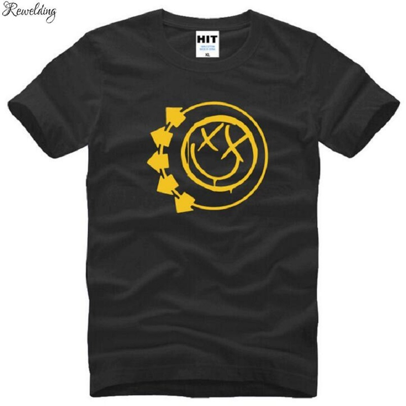 <font><b>BLINK</b></font> <font><b>182</b></font> Smiley Face Printed T <font><b>Shirt</b></font> Men Hip Hop Short Sleeve O-Neck Cotton Man T-<font><b>Shirt</b></font> Cool Tee <font><b>Shirt</b></font> Homme Camisa Masculina image