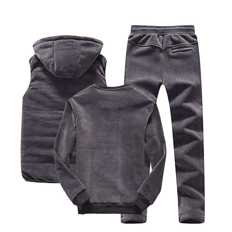 Hoodie Men Set Sports Suit M 4XL Winter Gold Velvet 3 Pieces Sets Tracksuit Men's Plus Size XXXXL Vest + Pants + Sweatshirt - 2