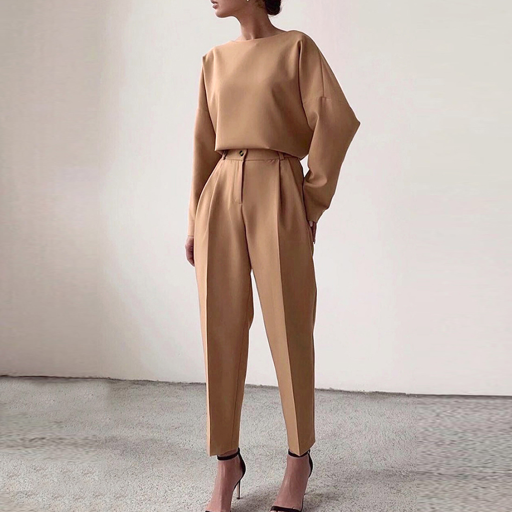 2020 Women Casual Pants Pure Color Elastic High Waist Women Straight Pants Pocket Women Fashion Pants Pantalon Female Trousers