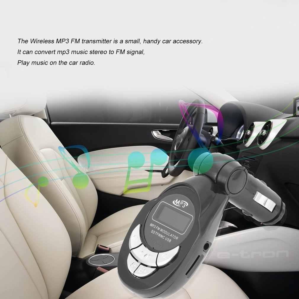 4 in1 液晶自動車MP3 プレーヤーワイヤレスfmトランスミッタ変調器usb cd mmcリモートキットブラックホット販売ドロップ無料