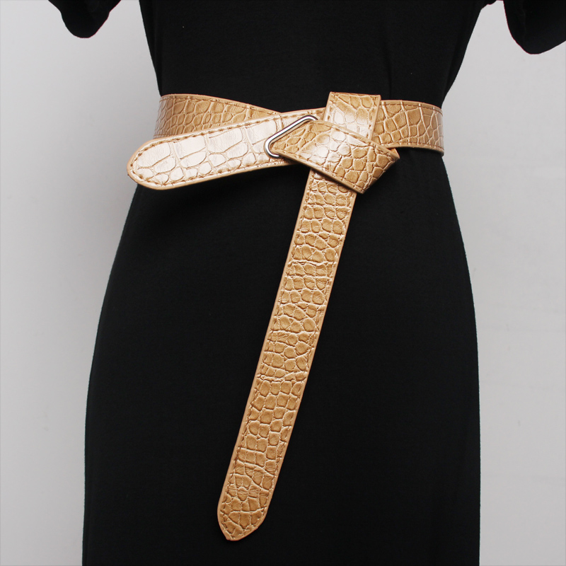 Ms Waist Sealing Can Tie A Knot  Simple Style Decoration Skirt Sweater Fashion Women Belt Pattern Of The Snake Fine Belt Dark