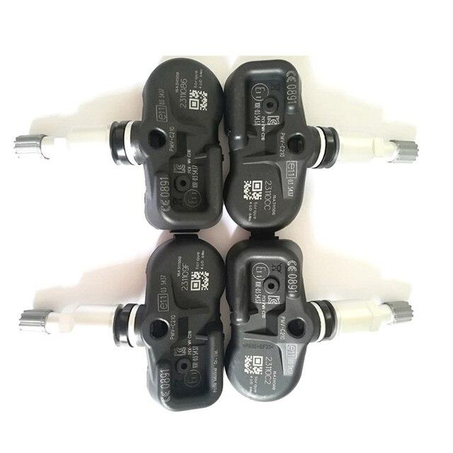 Sensor tpms do sistema de monitoramento da pressão dos pneus de 4 pces 433mhz 42607 02031 PMV C210 para toyota avensis auris rav4 yaris verso