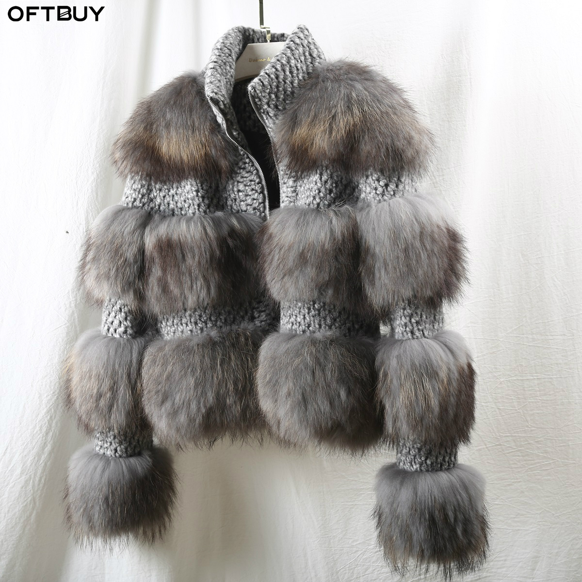 OFTBUY 2019 Winter Jacket Women Grey Real Fur Coat Natural Raccoon Fur Woolen Outerwear Bomber Jacket Korean Streetwear New