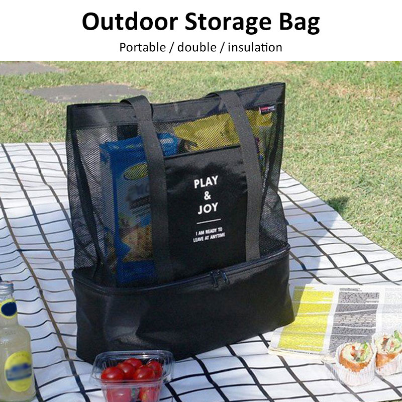 Food Waterproof Insulated Picnic Bag Cooler Picnic Bag Fashion Beach Handheld Lunch Bag Portable Outdoors Storage Refrigeration